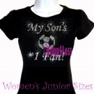 My Son's #1 Fan - SOCCER Mom - Iron on Rhinestone - Junior Fitted Black T-Shirt - Sports Mom Top
