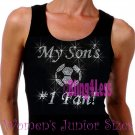 My Son's #1 Fan - SOCCER Mom - Iron on Rhinestone - Junior Black TANK TOP - Sports Mom Shirt