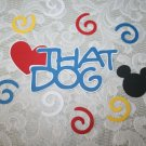 Disney Mickey ear die cut, swirls and title