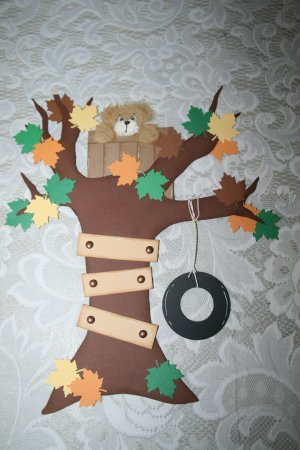 TEAR BEAR IN A TREE HOUSE PAPER PIECING DIE CUT