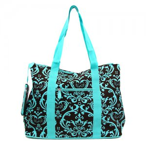 Large Damask Tote in Brown and Teal