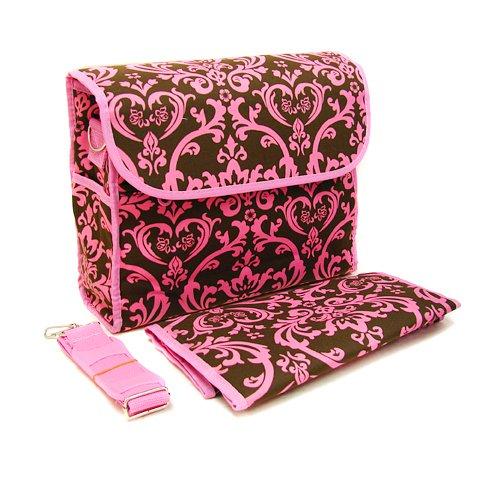 Floral Diaper Bag in Pink and Brown