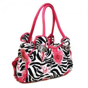 Zebra Roses Handbag in Fuschia
