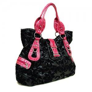 Floral Damask Handbag in Black and Fuschi