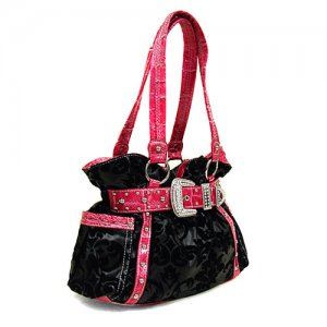 Damask Buckle Handbag in Black and Pink