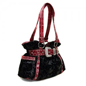 Damask Buckle Handbag in Black and Red