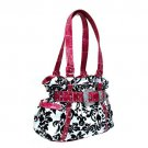 Damask Handbag in White and Fuschia
