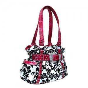 Damask Handbag in White and Fuschia