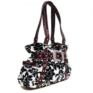 Damask Buckle Handbag in White and Red