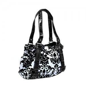 Floral Damask Handbag in White and Black