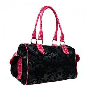 Black Damask Satchel in Pink