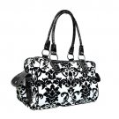 Floral Damask Satchel in White and Black
