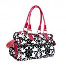 Floral Damask Satchel in White and Pink