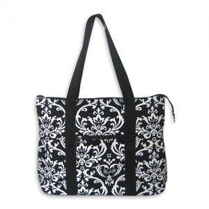 Black Damask Tote Bag