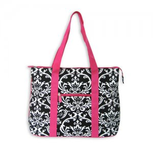 Black Damask Tote Bag in Pink