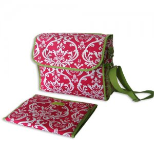 Pink and Green Damask Diaper Bag
