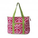 Pink and Green Damask Tote Bag