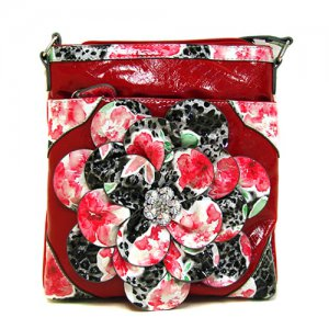 Red Flower Cross Body Bag