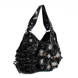 Black Feather Flower Handbag