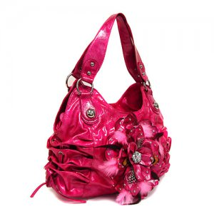 Pink Feather Flower Handbag