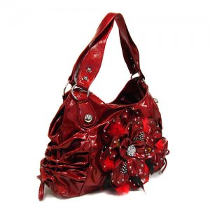 Red Feather Flower Handbag