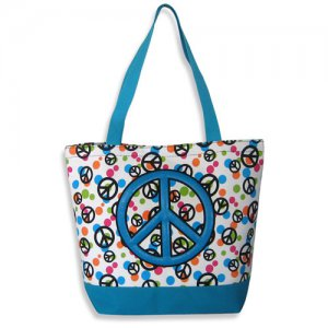 Peace Sign Tote in Blue