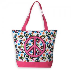 Peace Sign Tote in Pink