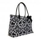 Quilted Damask Tote in Black