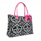 Quilted Damask Tote in Pink