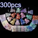 300pcs Mixed Colorful 2.7x3.5inch(7x9cm) Organza Bag Pouch for Gift Jewelry with Printed Pattern