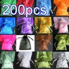 200pcs Mixed Colorful 4.7x3.5inch(12x9cm) Organza Bag Pouch for Gift Jewelry Solid Color