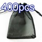 Black 4.7x3.5inch(12x9cm) Organza Bag Pouch for Gift Jewelry Solid Color