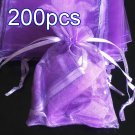 200pcs Lilac Purple 9x6.5inch(23x17cm) Organza Bag Pouch for Gift Jewelry Solid Color