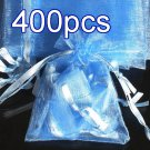 400pcs Baby Blue 4.7x3.5inch(12x9cm) Organza Bag Pouch for Gift Jewelry Solid Color