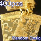 400pcs Yellow 2.7x3.5inch(7x9cm) Organza Bag Pouch for Gift Jewelry Random Design