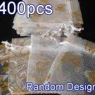 400pcs White 2.7x3.5inch(7x9cm) Organza Bag Pouch for Gift Jewelry Random Design