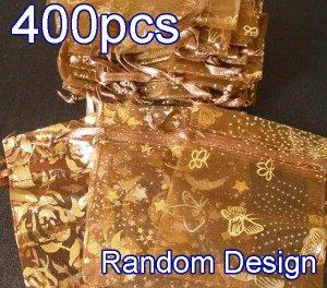400pcs Brown 2.7x3.5inch(7x9cm) Organza Bag Pouch for Gift Jewelry Random Design