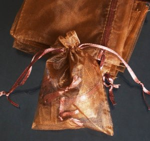 400pcs Brown 4.7x3.5inch(12x9cm) Organza Bag Pouch for Gift Jewelry Solid Color