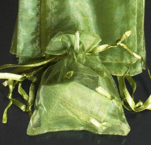 400pcs Olive Green 4.7x3.5inch(12x9cm) Organza Bag Pouch for Gift Jewelry Solid Color