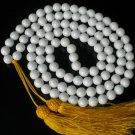 108 Tibet White Gemstone 0.4inch Bead Buddhist Prayer Mala Necklace