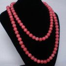 54inch Light Red Gemstone 0.4inch Bead Long Necklace