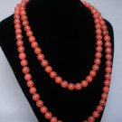 54inch Light Red Veins Gemstone 0.4inch Bead Long Necklace
