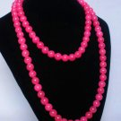 54inch Hot Pink Gemstone 0.4inch Bead Long Necklace