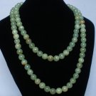 54inch Light Green Gemstone 0.4inch Bead Long Necklace