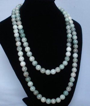 54inch Natural Light Color Gemstone 0.4inch Bead Long Necklace