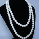 54inch White Gemstone 0.4inch Bead Long Necklace