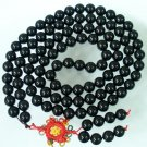 108 Tibet Black Stone Gemstone 0.4inch Bead Necklace