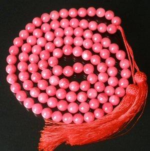 108 Tibet Light Red Gemstone Stone 0.4inch Bead Necklace