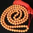 108 Tibet Light Orange Gemstone Stone 0.4inch Bead Necklace