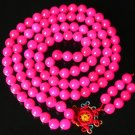 108 Tibet Hot Pink Gemstone Stone 0.4inch Bead Necklace